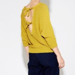 Callahan Yellow Knit Double Bow Open Back Sweater